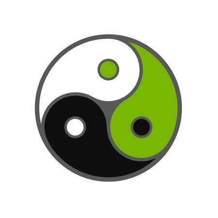 Triple yin yang symbol, three colors in balance. White, black and green. Vector clip art illustration on white background.
