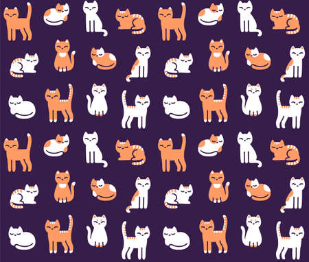 Cute cartoon cat seamless pattern. Hand drawn kitties in different poses on dark background. Tileable vector illustration.