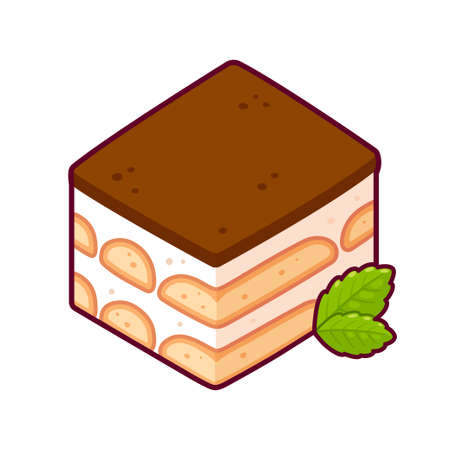 Tiramisu, traditional Italian dessert. Isolated vector clip art illustration. Vectores