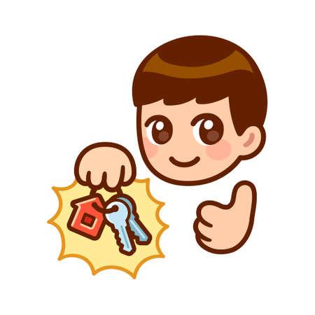 Cartoon anime character holding keys with house shaped keyring and giving thumbs up. New apartment, home ownership. Cute vector illustration. Vectores