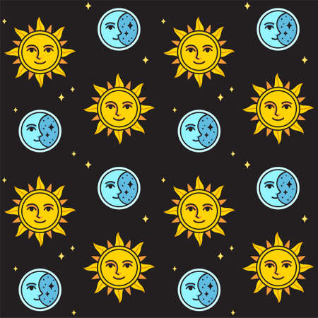 Sun and moon seamless pattern on black background. Vintage style sun and moon face drawing. Vector clip art illustration.