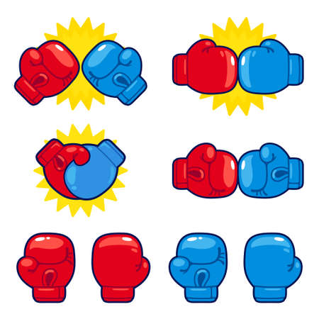 Cartoon red vs blue boxing gloves set. Boxing match opponents, competition icons. Isolated vector illustration.