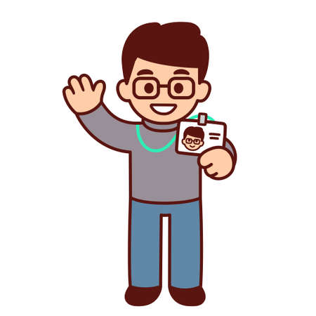 Cute cartoon character holding id badge and waving hello. New employee at work. Funny office staff drawing, vector illustration.