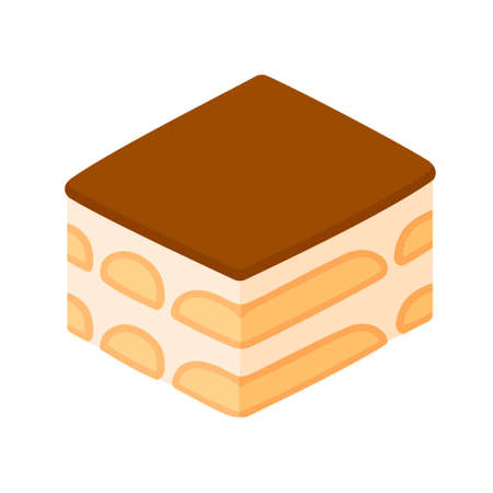 Tiramisu, traditional Italian dessert. Isolated vector clip art illustration. Isometric flat design icon.