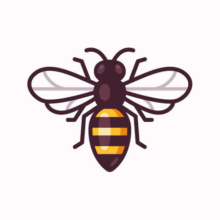 Vector bee icon. Simple cartoon illustration, geometric flat design. Vectores