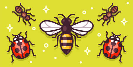 Cartoon insects illustration on a bright banner. Bee, ants and ladybugs. Simple vector clip art set.