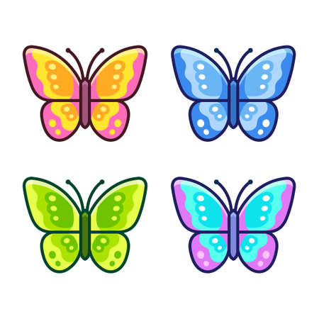 Cartoon butterfly icon set in different colors. Simple flat design vector illustration.