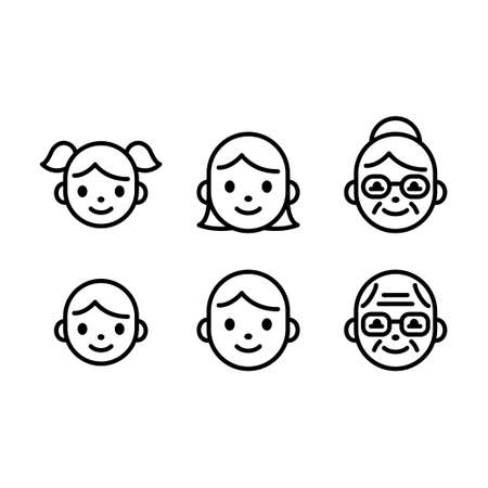 Cute and simple people face icon set. Line icons of child, adult and senior male and female. Boy and girl, man and woman.