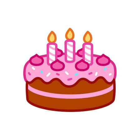 Birthday cake icon with candles, pink frosting and sprinkles. Simple cartoon doodle, isolated vector clip art illustration.