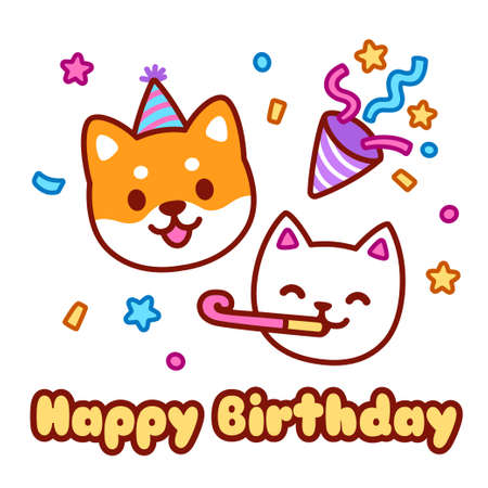 Cute cartoon cat and dog character celebrating on birthday party. Happy birthday greeting card design. Kawaii vector illustration.
