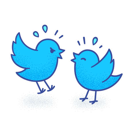 January 30, 2021. Illustration of two cartoon Twitter birds fighting, arguing on social media. Cute funny vector drawing.