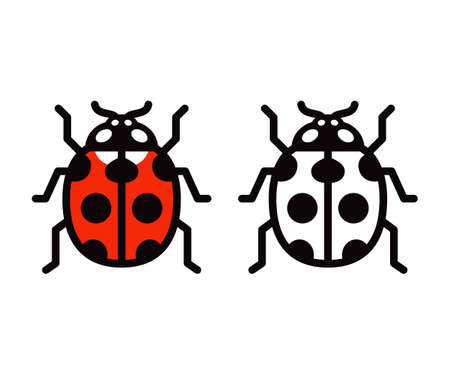 Vector ladybug icon or logo. Color and black and white symbol. Simple flat design illustration.