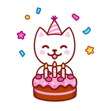 Cute cartoon cat in party hat blowing candles on birthday cake. Happy birthday greeting hard design. Kawaii vector illustration.