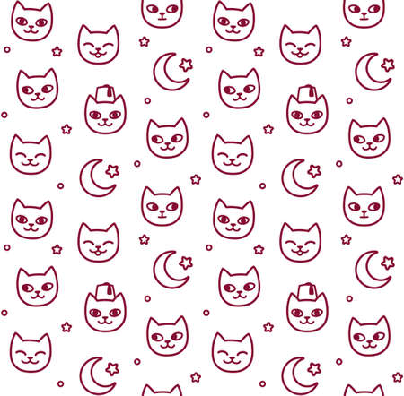 Seamless pattern of Turkish street cats and Turkey flag symbols. Cute cartoon doodle background, vector illustration.
