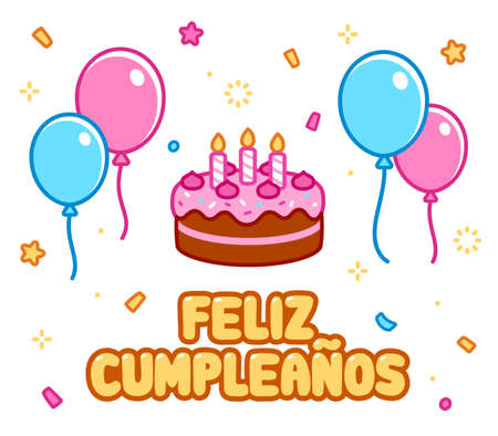 Feliz cumpleaños, Happy Birthday in Spanish. Cartoon greeting card with birthday cake, balloons and confetti. Cute doodle drawing, vector illustration.