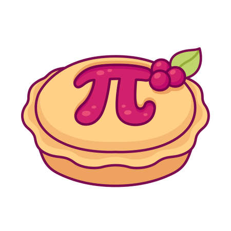 Sweet cherry pie with greek letter Pi, maths symbol. Cute cartoon drawing, vector clip art illustration. 3.14 (March 14) International Pi day.