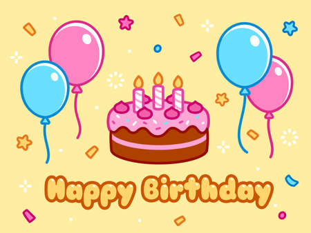 Happy Birthday greeting card with birthday cake, balloons, confetti and cartoon text. Cute doodle drawing, vector illustration.