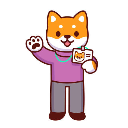 Cute cartoon dog character holding id badge and waving hello. New employee at work. Funny office staff drawing, vector illustration.