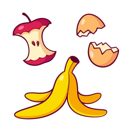 Organic waste, garbage for compost. Apple core, banana peel ans egg shells. Isolated vector clip art illustration. Simple cute cartoon style.