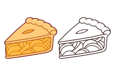 Cartoon apple pie slice. Color drawing and black and white line art. Isolated vector clip art illustration.
