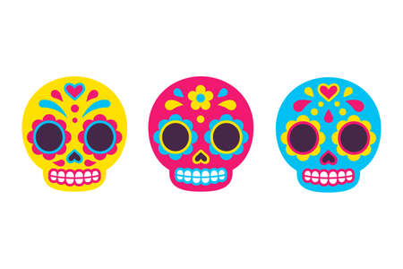 Mexican Dia de los Muertos (Day of the Dead) sugar skull icons. Cute cartoon illustration set in flat vector style.