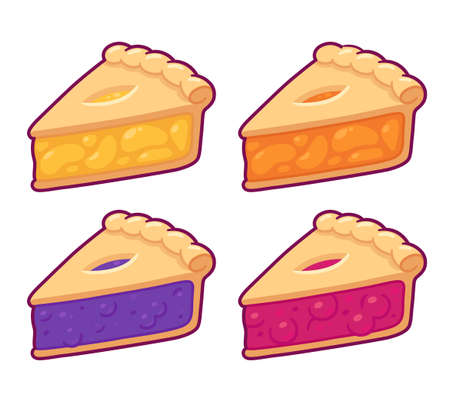 Cute cartoon pie slice set. Cherry, blueberry, apple and peach pie drawing. Hand drawn traditional American homemade dessert. Isolated vector illustration.
