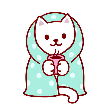 Cute cartoon cat with blanket and cup of hot tea. Kawaii white kitten in warm cozy blanket. Isolated vector clip art illustration.