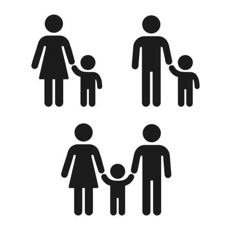 Adult and child holding hand icon, family and single parent. Simple people figure icons, vector symbol set.