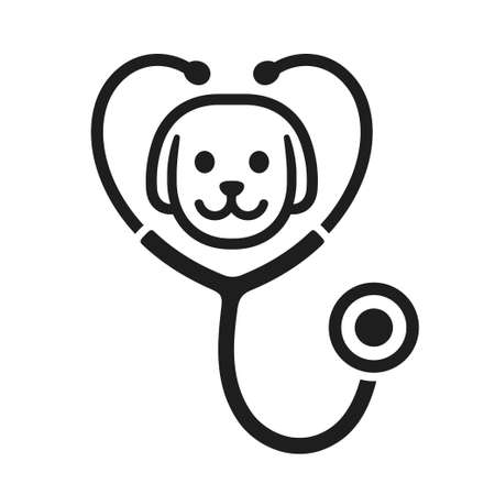 Stethoscope silhouette with dog face icon. Veterinary clinic logo, isolated vector illustration. Vectores