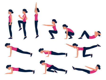 Cartoon woman bodyweight exercise illustration set. Fitness workout for abs, cardio, HIIT. Isolated vector clip art.
