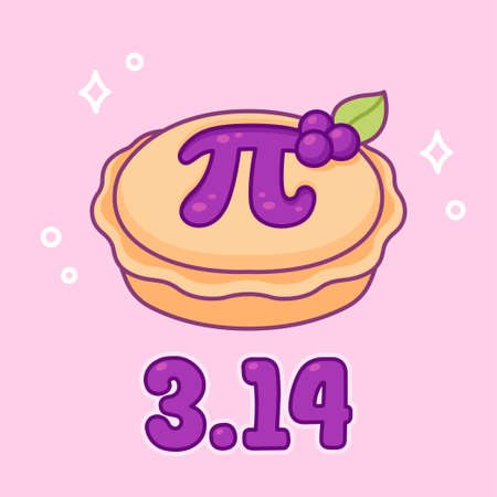 3.14 (March 14) International Pi day. Sweet blueberry pie with greek letter Pi, maths symbol. Cute cartoon drawing, vector clip art illustration.