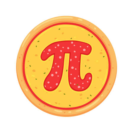 Pizza with pepperoni letter Pi. Simple cartoon drawing, vector clip art illustration.