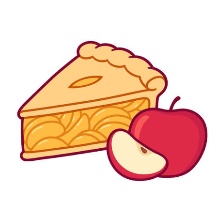 Cute cartoon apple pie drawing. Simple hand drawn pie slice with red apples. Isolated vector clip art illustration.
