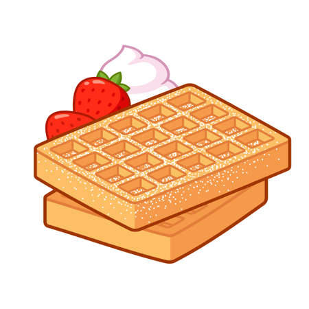 Belgian waffle with powdered sugar, whipped cream and strawberries. Traditional breakfast food vector illustration. Cartoon clip art drawing. Vectores