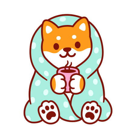 Cute cartoon dog with blanket and cup of hot tea. Kawaii Shiba Inu puppy in warm cozy blanket. Isolated vector clip art illustration. Vectores