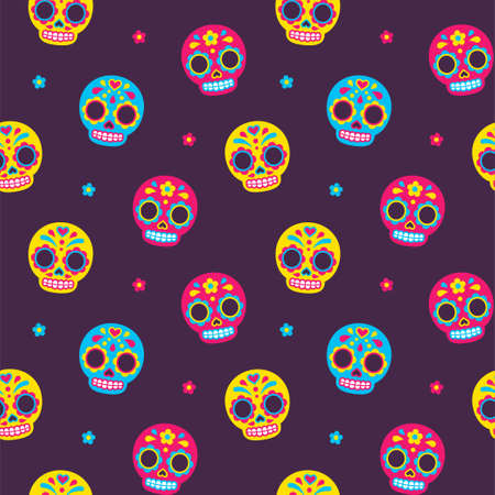 Mexican Day of the Dead sugar skulls seamless pattern. Cute and bright cartoon vector background.