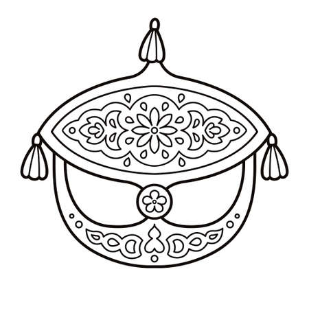 Wau Bulan, traditional Malay moon kite, symbol of Malaysia. Black and white line drawing for coloring. Vector clip art illustration.