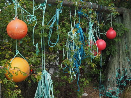 Blue rope loops, red and orange floats and fishing net hanging between bush.