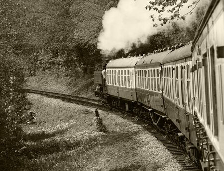 cornering: Steam train in full steam, turning a left hand bend