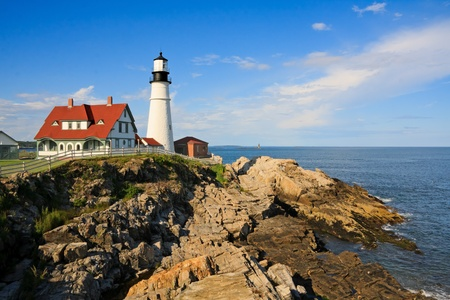 coasts: One of the many lighthouses in Maine, USA Stock Photo