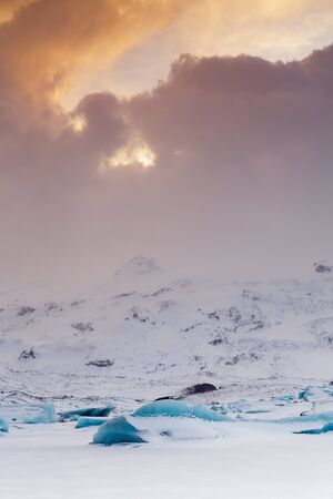 icefield: Icelandic icefield at the end of the day Stock Photo