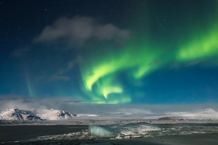 aurora: Aurora Borealis over Jokulsarlon Lagoon, Iceland