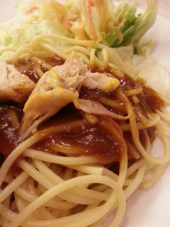 tangy: Spaghetti with tangy chicken sauce Stock Photo