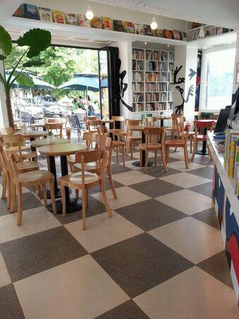 book shelf: Restaurant interior design with book shelf