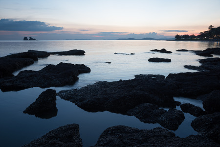 rayong: after sunset at Leammaephim beach,Rayong,Thailand Stock Photo