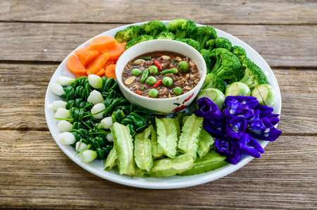 vigna: shrimp paste chilli sauce with variety of vegetables,the famous thai food call Numprik Kapi
