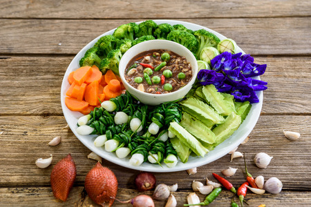 shrimp paste chilli sauce with variety of vegetables,the famous thai food call Numprik Kapi
