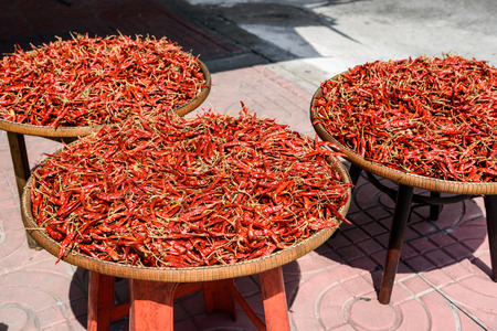 red dry chilli pepper for Thai food while drying with sunlight Foto de archivo