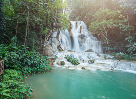 Deep forest Waterfall,Tad Kwang See waterfall,turquoise color water in north Lao