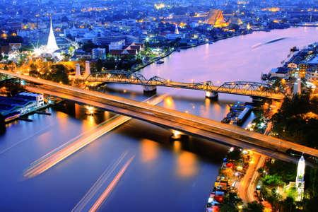 thai temple: Night view over Chaopraya River Stock Photo